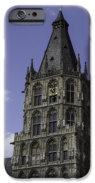 Dining Hall iPhone Cases - Tower at Historic City Hall Cologne Germany iPhone Case by Teresa Mucha