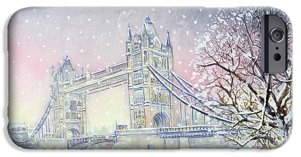 Snow iPhone Cases - Tower Bridge, 2005 Wc On Paper iPhone Case by Tony Todd
