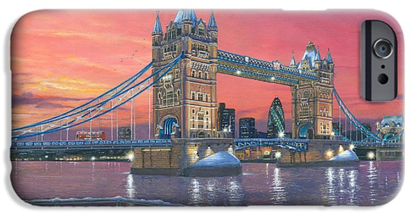 Sectioned iPhone Cases - Tower Bridge after the Snow iPhone Case by Richard Harpum