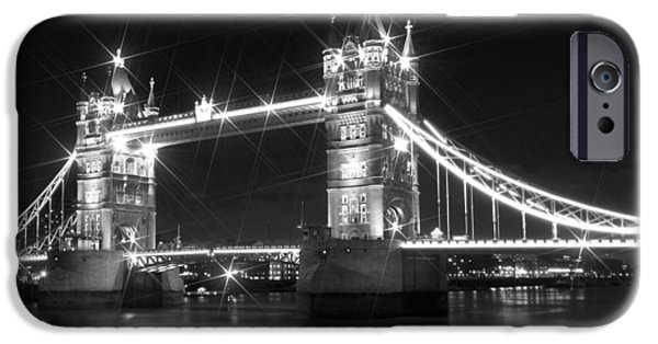Old Town Digital iPhone Cases - Tower Bridge by Night - black and white iPhone Case by Melanie Viola