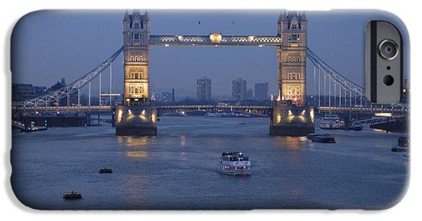 Evening Scenes iPhone Cases - Tower Bridge - England iPhone Case by Mike McGlothlen