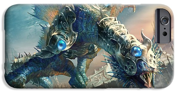 Fantasy Digital Art iPhone Cases - Tower Drake iPhone Case by Ryan Barger