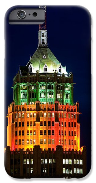 The Americas iPhone Cases - Tower Lit Up At Night, Tower Of The iPhone Case by Panoramic Images