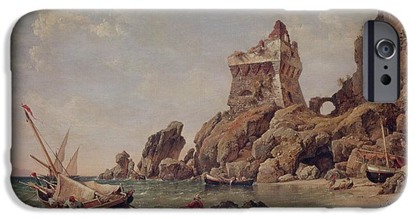Sea iPhone Cases - Tower Of Erchia, Gulf Of Salerno, 1849 Oil On Canvas iPhone Case by Edward William Cooke