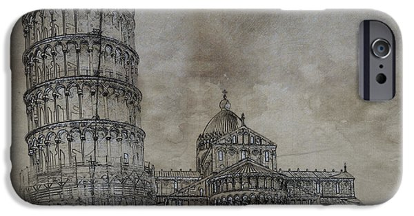 Europa Paintings iPhone Cases - Tower of Pisa Italy Sketch iPhone Case by Celestial Images