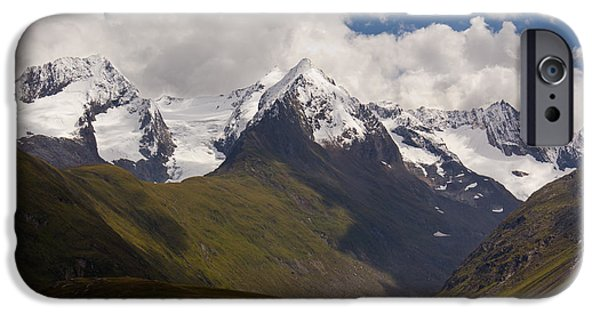 Meadow Photographs iPhone Cases - Towering Austrian Mountains iPhone Case by Dave Cawkwell