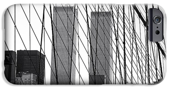 Twin Towers Nyc iPhone Cases - Towers from the Brooklyn Bridge 1990s iPhone Case by John Rizzuto