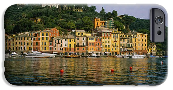 Reflections Of Sky In Water iPhone Cases - Town At The Waterfront, Portofino, Italy iPhone Case by Panoramic Images