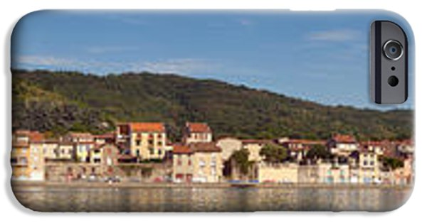 Rhone Alpes iPhone Cases - Town At The Waterfront, Rhone River iPhone Case by Panoramic Images