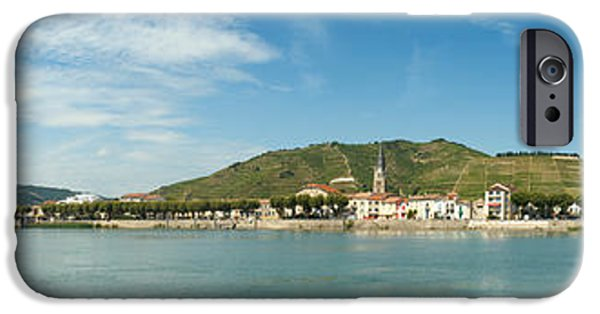 Rhone Alpes iPhone Cases - Town At The Waterfront, Vineyards iPhone Case by Panoramic Images