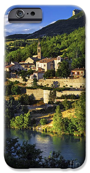 Setting Sun iPhone Cases - Town of Sisteron in Provence iPhone Case by Elena Elisseeva
