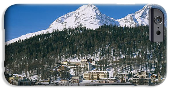 Mountain iPhone Cases - Town On The Mountainside, Saint Moritz iPhone Case by Panoramic Images