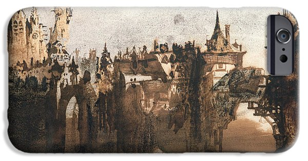 Abstract Expressionist Drawings iPhone Cases - Town with a Broken Bridge iPhone Case by Victor Hugo
