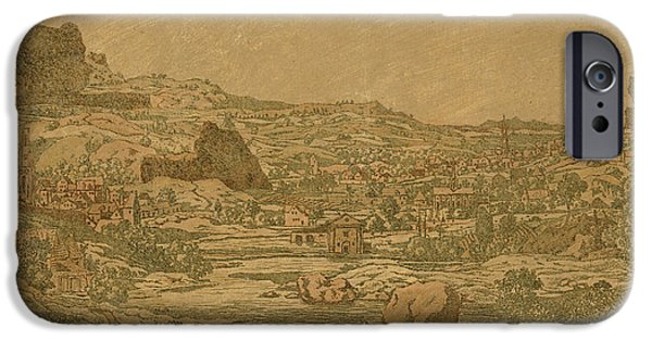 Detail Drawings iPhone Cases - Town with four towers iPhone Case by Hercules Segers