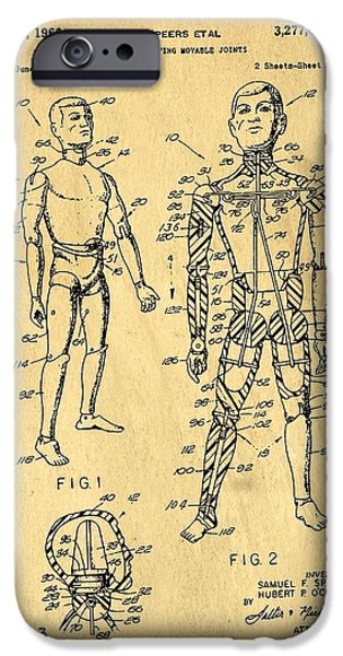Speer iPhone Cases - Toy Figure Having Movable Joints Support Patent Drawing From 1966 1 iPhone Case by Samir Hanusa