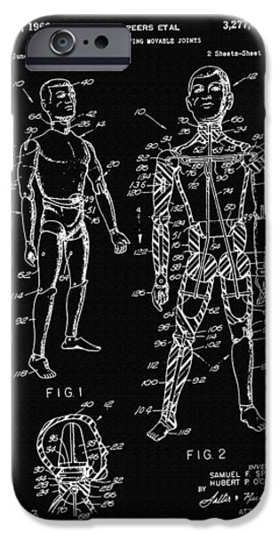 Speer iPhone Cases - Toy Figure Having Movable Joints Support Patent Drawing From 1966 2 iPhone Case by Samir Hanusa