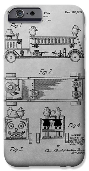Toy Store iPhone Cases - Toy Fire Engine Patent Drawing iPhone Case by Dan Sproul