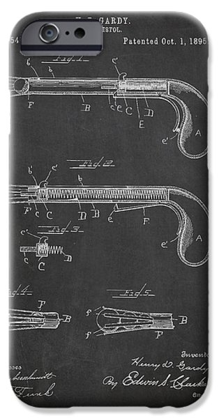 Pistol iPhone Cases - Toy Pistol Patent Drawing From 1895 iPhone Case by Aged Pixel