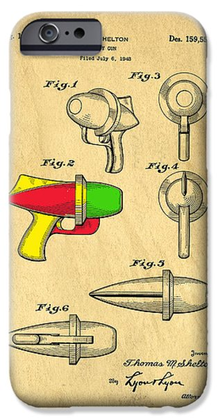 Weapon Drawings iPhone Cases - Toy Ray Gun Patent II iPhone Case by Edward Fielding