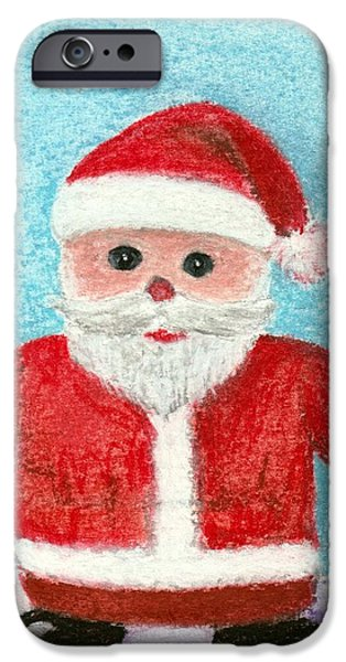 Snow Pastels iPhone Cases - Toy Santa iPhone Case by Anastasiya Malakhova