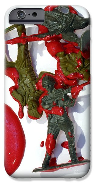 Toy Soldiers in a Pool of Blood iPhone Case by Amy Cicconi