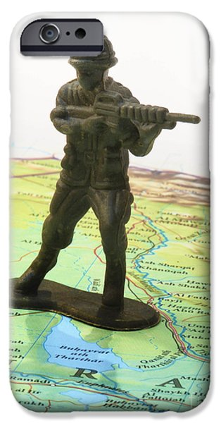Armed Services iPhone Cases - Toy Solider on Iraq Map iPhone Case by Amy Cicconi