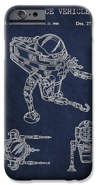 Robot iPhone Cases - Toy Space Vehicle Patent iPhone Case by Aged Pixel