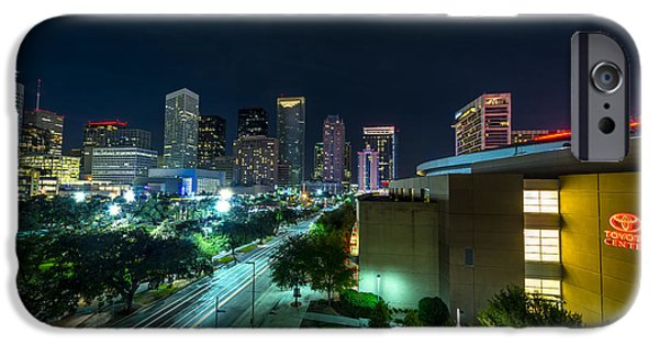 Blue iPhone Cases - Toyota Center and Downtown Houston iPhone Case by David Morefield