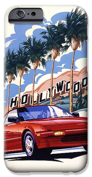 Best Sellers -  - Airbrush iPhone Cases - Toyota MR2 Hollywood Hills iPhone Case by Garth Glazier