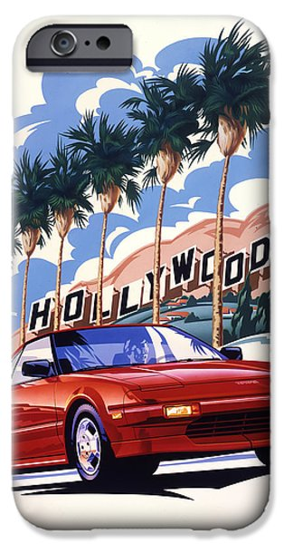 Airbrush Drawings iPhone Cases - Toyota MR2 Hollywood Hills iPhone Case by Garth Glazier