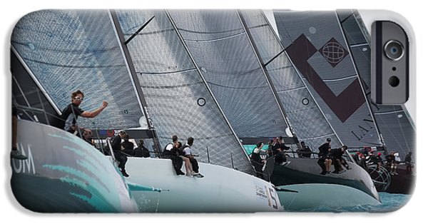 Sailboat Ocean iPhone Cases - TP52 Start iPhone Case by Steven Lapkin