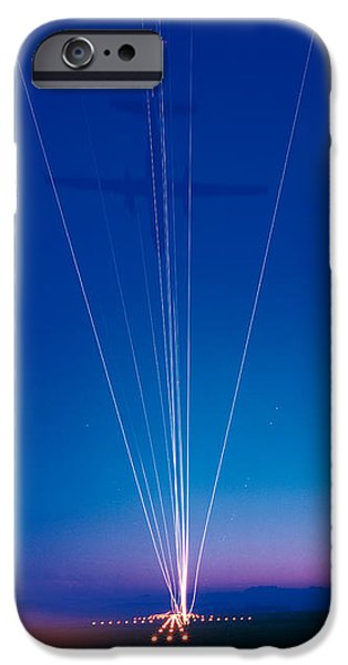 Descending iPhone Cases - Track Lights Zurich Airport Switzerland iPhone Case by Panoramic Images