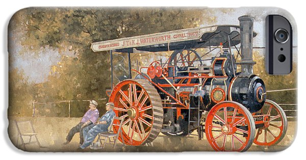 Display iPhone Cases - Traction Engine At The Great Eccleston Show, 1998 Oil On Canvas iPhone Case by Peter Miller
