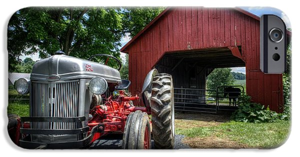 Barnstormer Photographs iPhone Cases - Tractor And Barn iPhone Case by Jason Barr