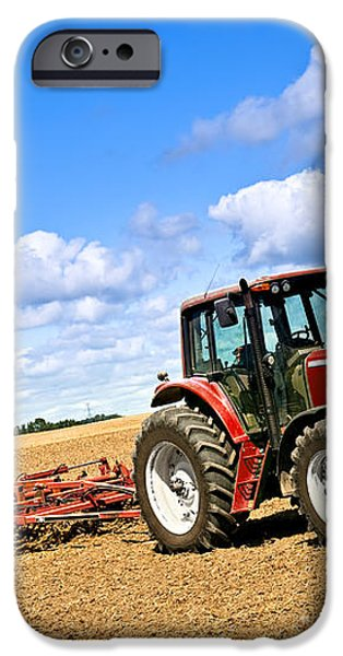 Tractor in plowed farm field iPhone Case by Elena Elisseeva