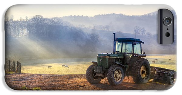 Old Barns iPhone Cases - Tractor in the Fog iPhone Case by Debra and Dave Vanderlaan