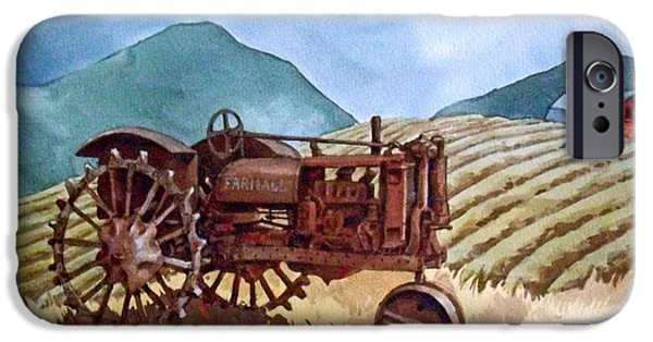 Rusty Ceramics iPhone Cases - Tractor Set Aside iPhone Case by Dan Krapf