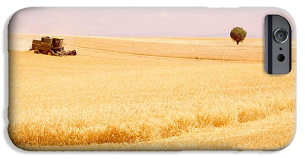 Crops iPhone Cases - Tractor, Wheat Field, Plateau De iPhone Case by Panoramic Images
