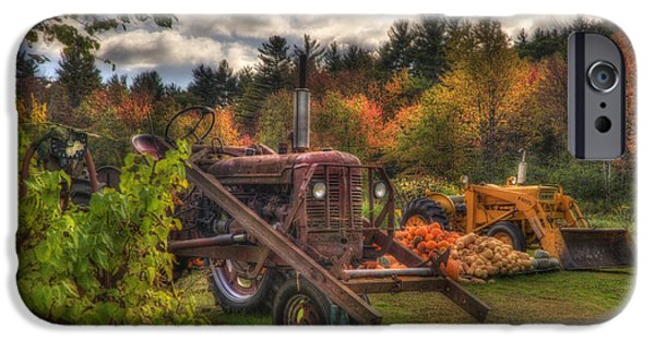 Fall Scenes iPhone Cases - Tractors and Pumpkins iPhone Case by Joann Vitali