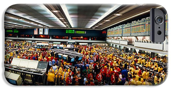 Data Photographs iPhone Cases - Traders In A Stock Market, Chicago iPhone Case by Panoramic Images