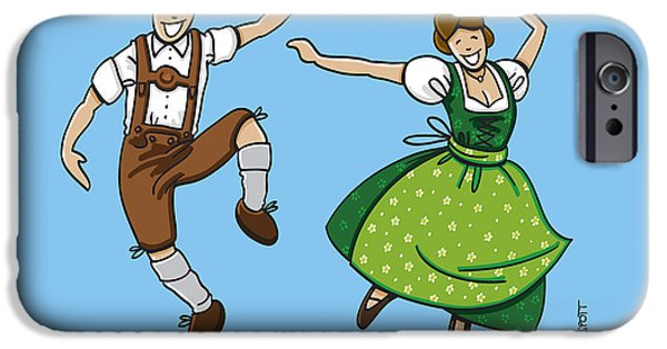 Bayern iPhone Cases - Traditional Bavarian Couple Dancing iPhone Case by Frank Ramspott