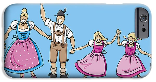 Germany iPhone Cases - Traditional Bavarian Family With Two Daughters iPhone Case by Frank Ramspott