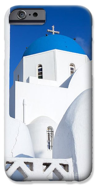 Greek Icon iPhone Cases - Traditional church in Santorini - Greece iPhone Case by Matteo Colombo