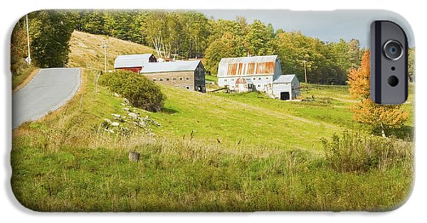Maine Barns iPhone Cases - Traditional Maine Farm On Side Of Hill Canvas Poster Prints iPhone Case by Keith Webber Jr