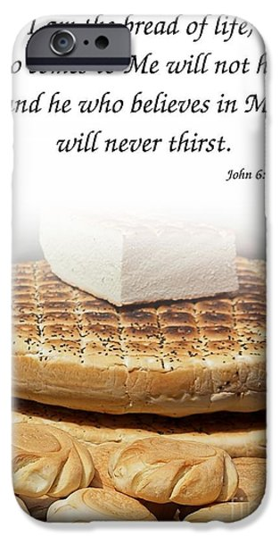 Loaf Of Bread iPhone Cases - Traditional Old-Fashioned Bread and Bible Verse iPhone Case by Yali Shi