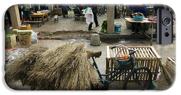 Chinese Market iPhone Cases - Traditional Town Market With Grass iPhone Case by Panoramic Images