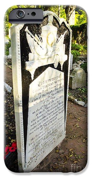Trafalgar Cemetery Headstone iPhone Case by Deborah Smolinske