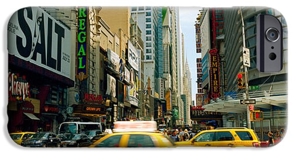 42nd Street iPhone Cases - Traffic In A City, 42nd Street, Eighth iPhone Case by Panoramic Images