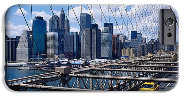 Commercial Photography iPhone Cases - Traffic On A Bridge, Brooklyn Bridge iPhone Case by Panoramic Images