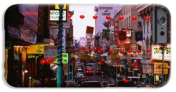 Chinese Market iPhone Cases - Traffic On A Road, Grant Avenue iPhone Case by Panoramic Images
